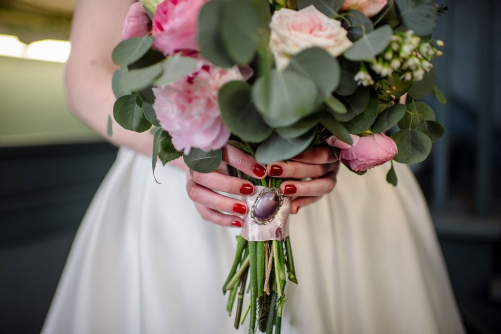 winter wedding bouquet with locket