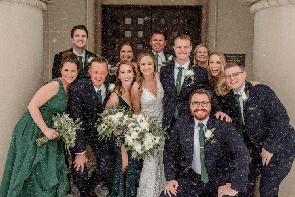 wedding party in snowstorm