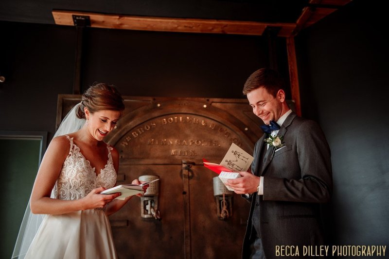 Couple exchange notes for their first look before their solar arts wedding