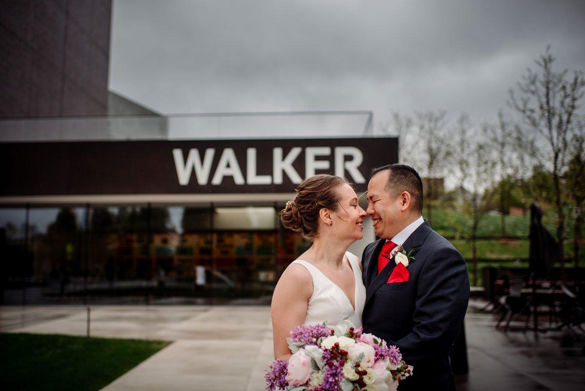 couple outside walker art center wedding