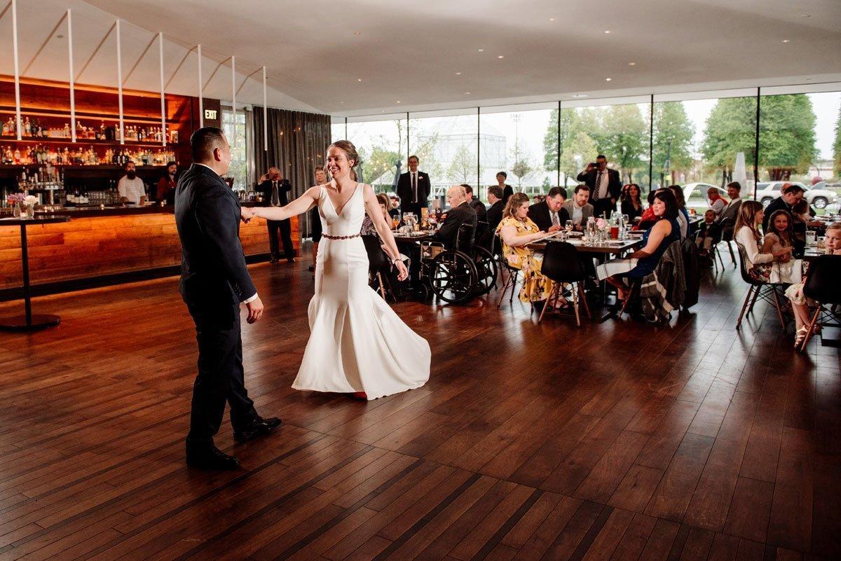 bride and groom first dance esker grove wedding at the walker art center minneapolis
