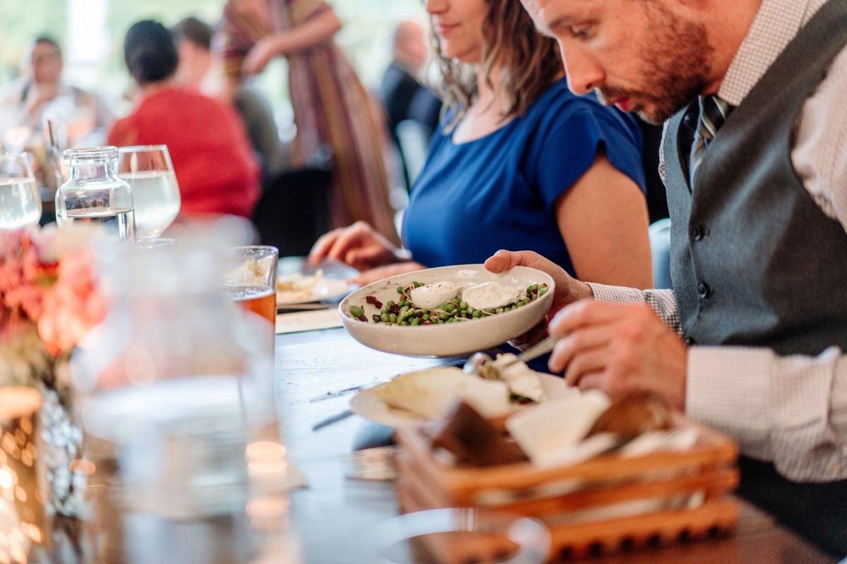 guests enjoy dinner esker grove wedding at the walker art center minneapolis