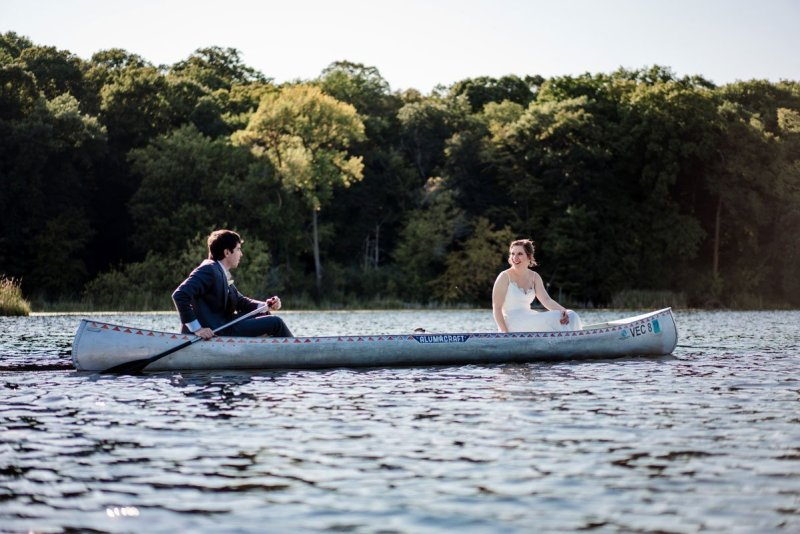 leaving by canoe voyageur wedding environmental center mn