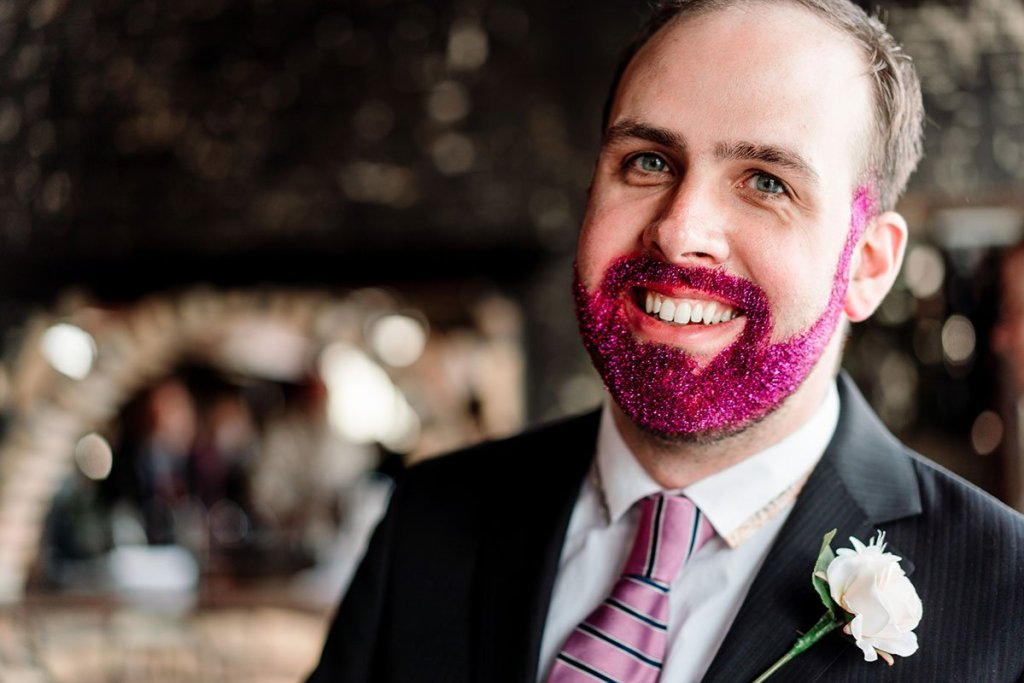 officiant put glitter in his beard for loring restaurant wedding minneapolis