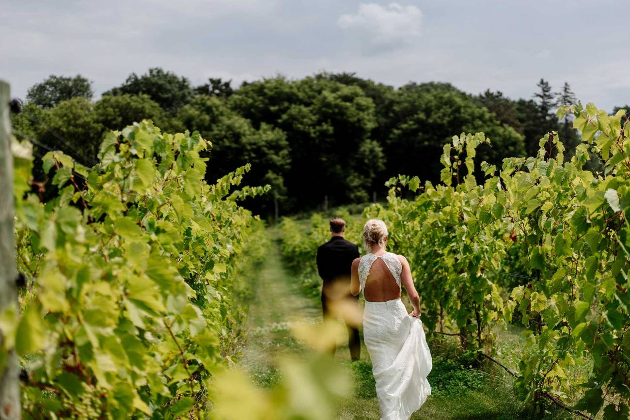 bride walks toward groom for first look 7 vines vineyard wedding mn