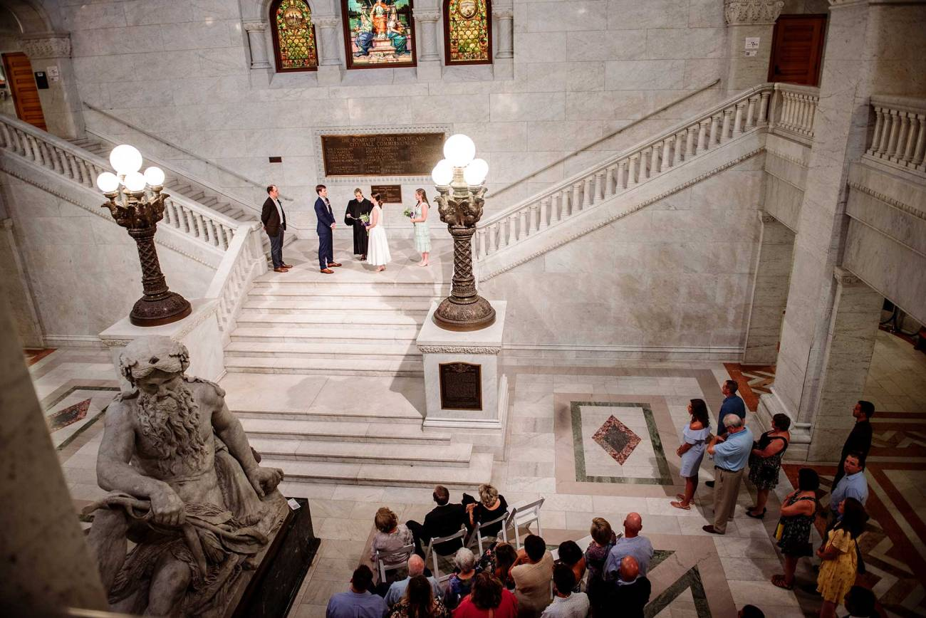 looking down on Minneapolis city hall wedding