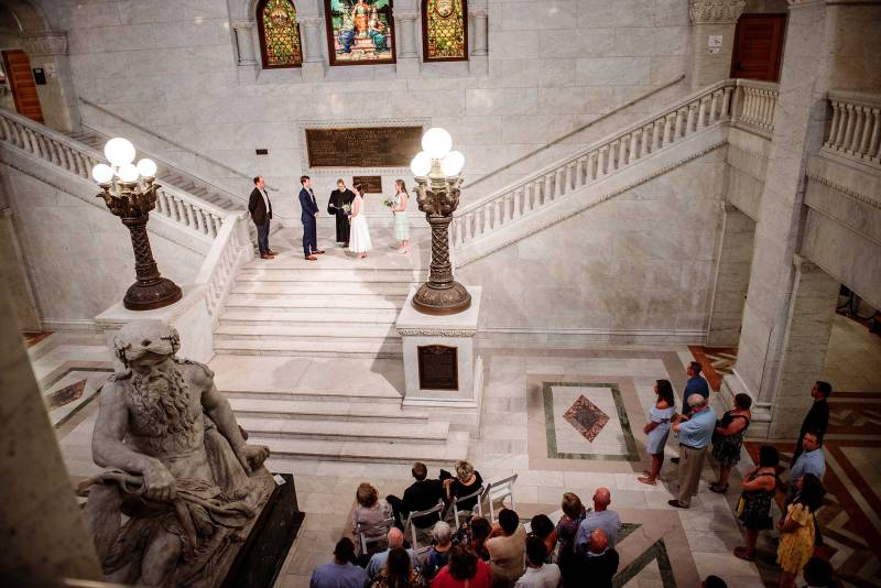 looking down on Minneapolis city hall wedding