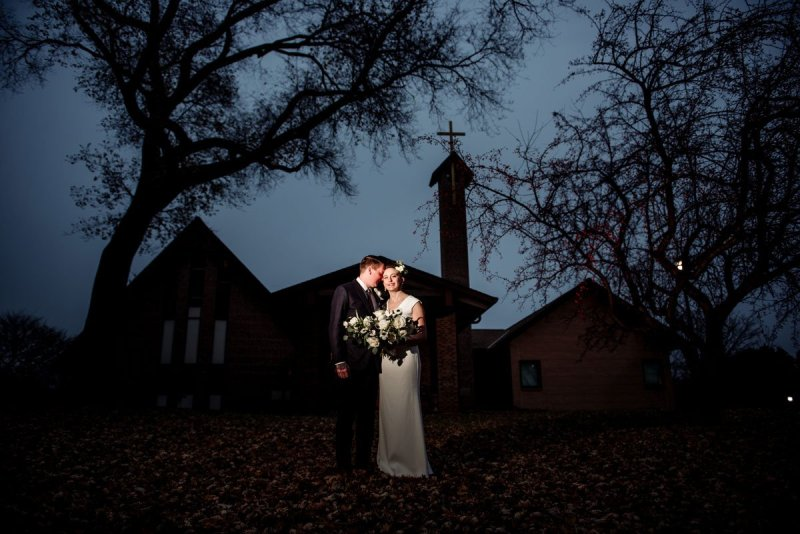 blue sky and small wedding with restaurant st paul mn