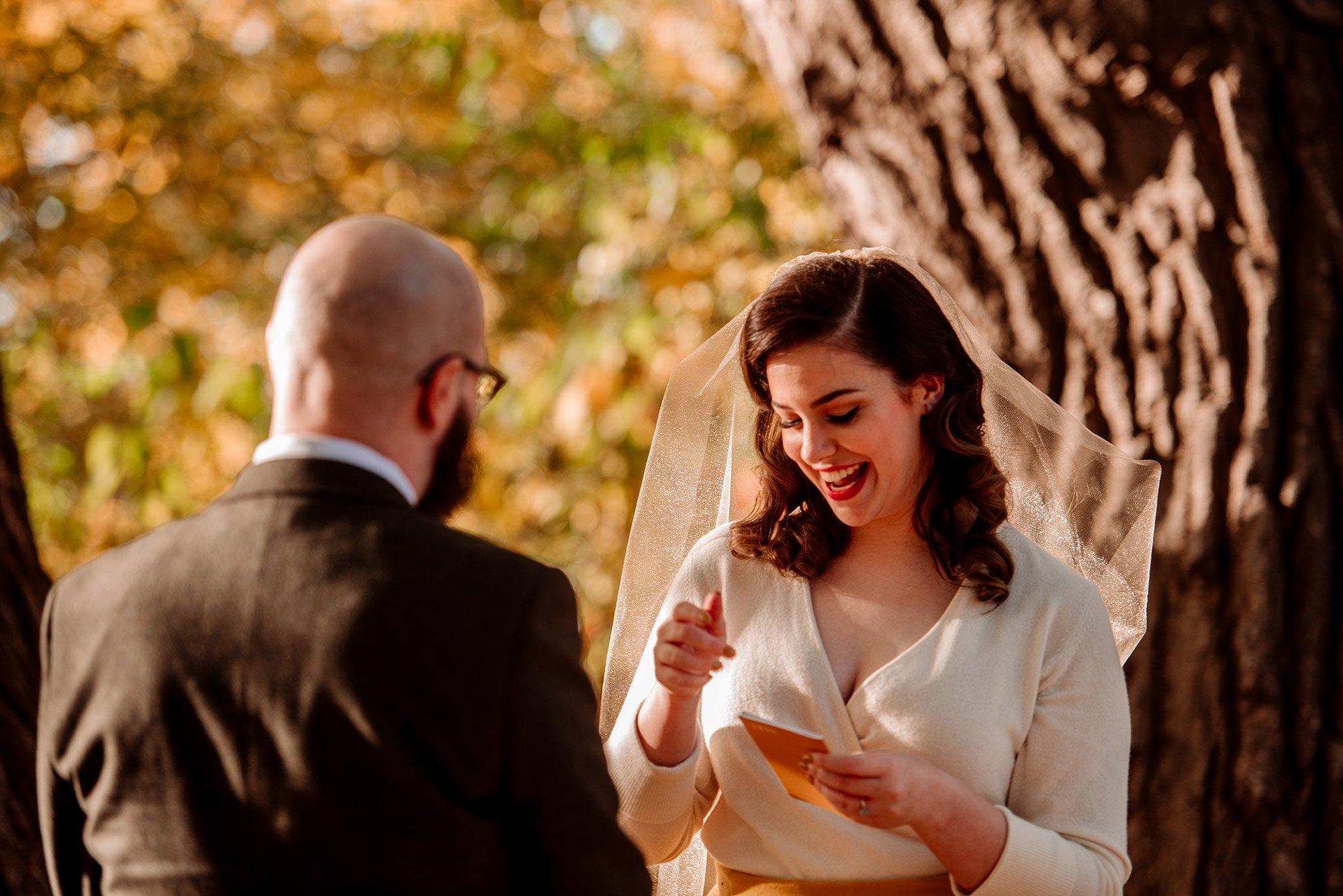 bride reads vows for Minneapolis elopement