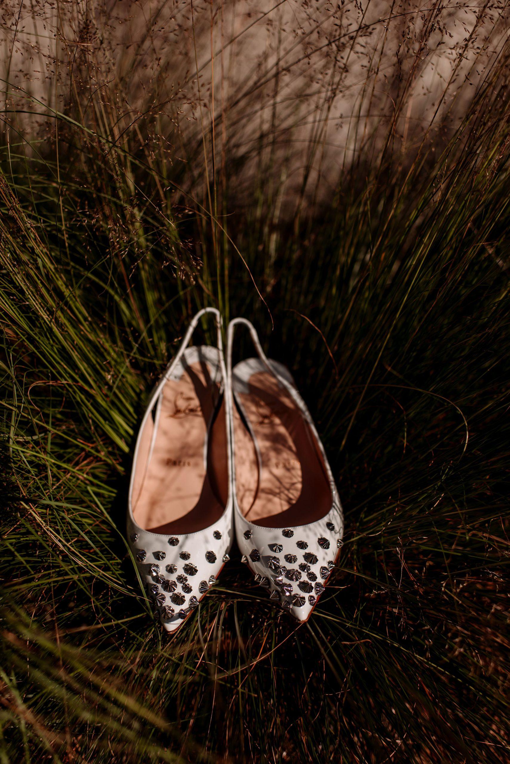 wedding shoes in prairie grass hyland hills wedding mn