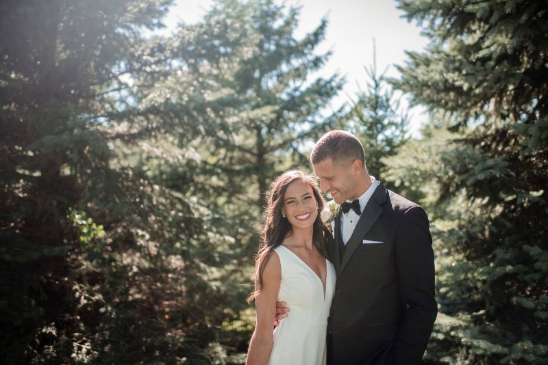 bride and groom at grounds of interlachen country club for portraits