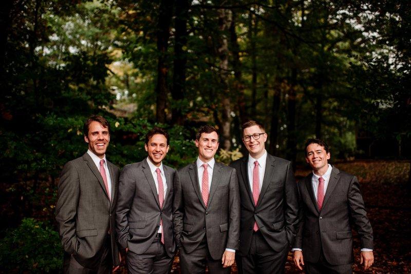 groomsmen at MN wedding at Camp Miller