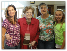 On far left, my sister; on far right, my niece Of course, my mom in coral!