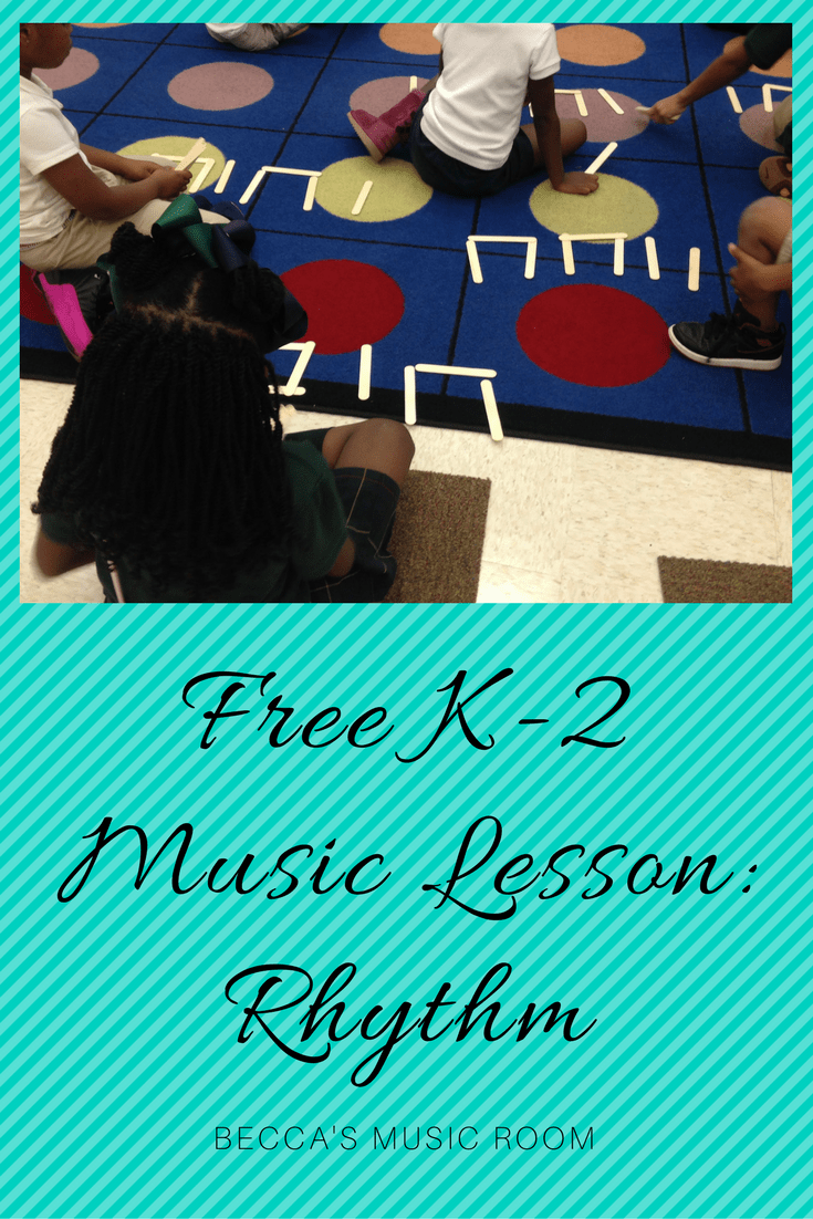 Free K-2 Music Lesson_Rhythms Becca's Music Room. Music lesson for Kindergarten, 1st, and 2nd grade. Great for Halloween in particular. Popsicle stick rhythms.