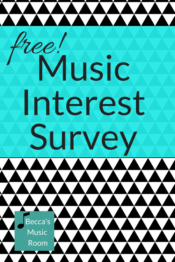 FREE Music Interest Survey as part of the new free resource library on Becca's Music Room. There are two versions-- an older student and younger student version. Find out whether your students love instruments or singing or dancing-- and what their favorite things are! Becca's Music Room