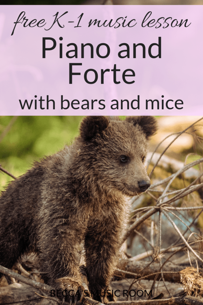 Free Music Lesson: Piano and Forte with bears and mice. This music lesson uses many well-known songs to teach students about piano and forte, relating them to animals. The highlight is having students play instruments in music class piano and forte. Becca's Music Room
