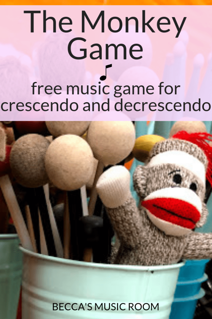 The Monkey Game: Free music game for crescendo and decrescendo. Perfect for teaching elementary music, or even middle school band and choir. It can be adapted to teach kindergarten and first grade by switching it to piano and forte. Your kids will be begging to play it-- at least mine do! Becca's Music Room.