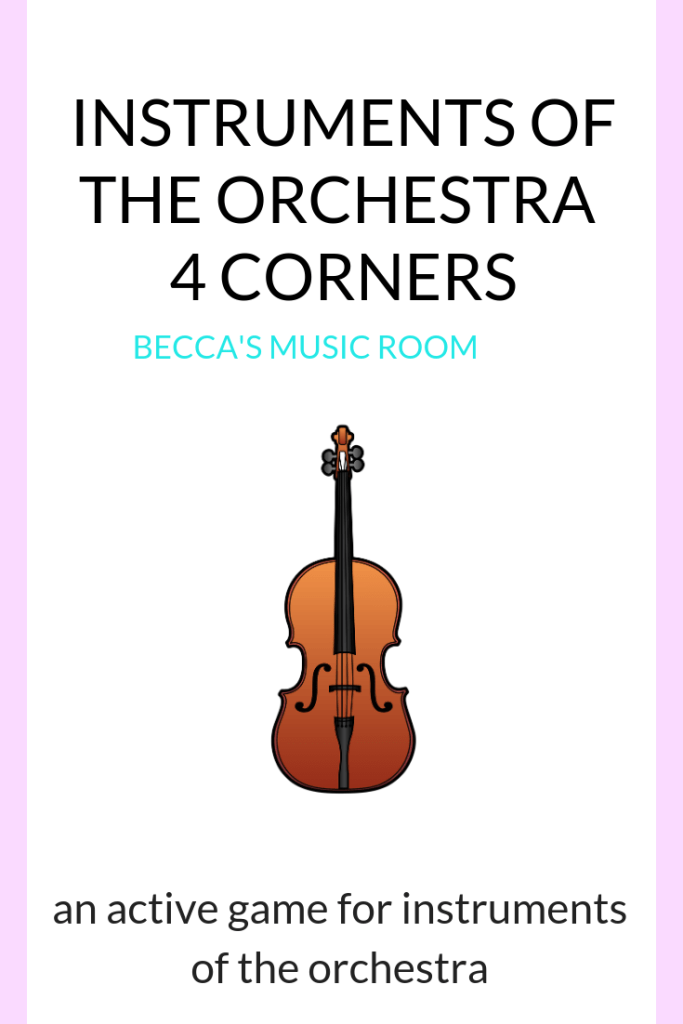 Instrument Four Corners: an active game for instruments of the orchestra. My fourth grade and fifth grade elementary music students loved this game-- and it is so easy to set up and explain-- easy enough that a sub could do it. This is great to review instruments of the orchestra or just have some fun! Becca's Music Room