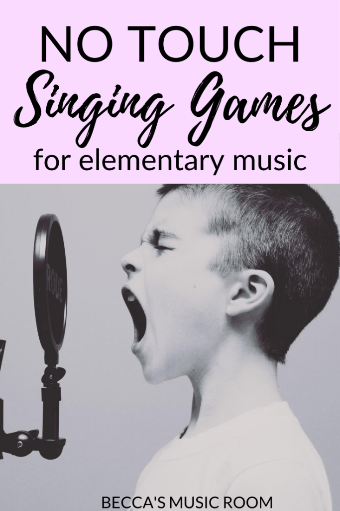 No Touch Singing Games for elementary music... Coming up with lesson ideas for general music class that don't involve touching is a a tall order-- but in this article, we talk about different singing games that can be done in a socially distanced music classroom! Becca's Music Room