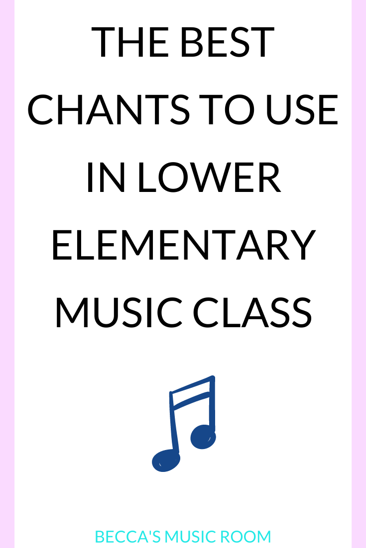 Chants for lower elementary music lessons. Teaching rhythm, beat, and high and low, movement, and more with these simple music lessons for kindergarten, first grade, and second grade-- no singing music lessons! Becca's Music Room