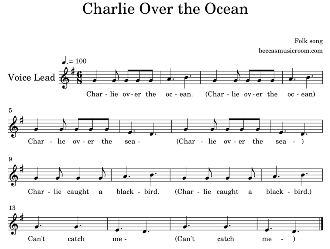Ickle Ockle sheet music from Becca's Music Room in a blog post about ocean folk songs and lesson ideas for elementary music class
