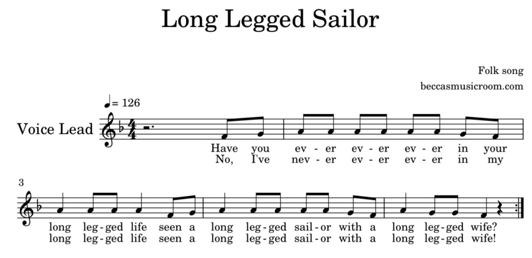 Long Legged Sailor sheet music from Becca's Music Room in a blog post about ocean folk songs and lesson ideas for elementary music class