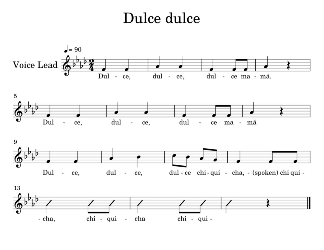 Dulce dulce African American folk song on Becca's Music Room