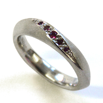 Palladium and Ruby Engagement Ring