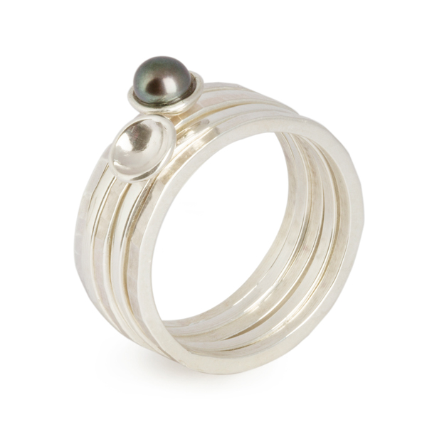 Flotsam Stacking Rings – Peacock Pearl x5