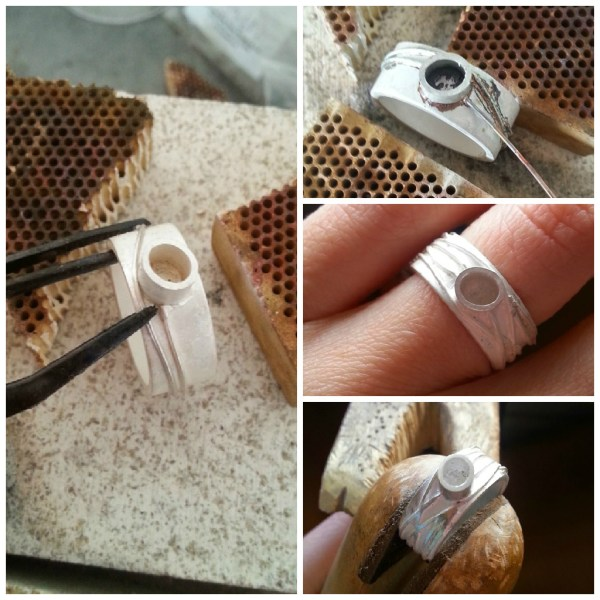 making the silver and topaz braided river ring