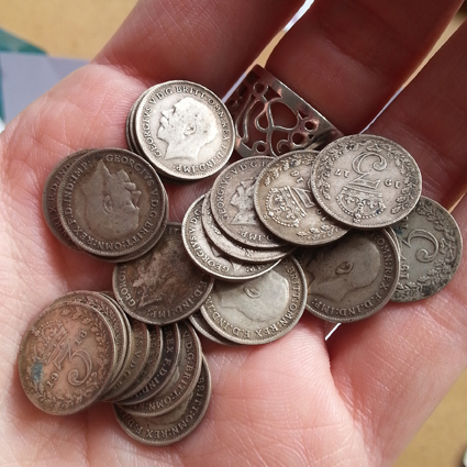Antique silver 3d three penny coins