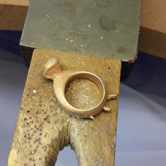Gold casting fresh from the mold
