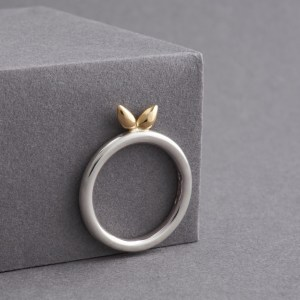 Leaf Silver & 18ct Yellow Gold Ring