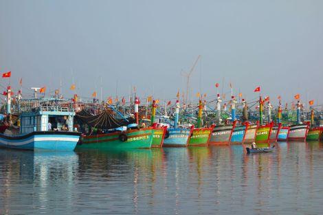 De lite större fiskebåtarna på rad i hamnen. En fantastisk färgpalett mot de disiga morgonen i Vung Tau.