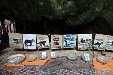Grottorna i kalkstensklippan är häftiga i sig, makabra med sin historia och alla skelettdelar som ligger utplacerade. Det blir inga bilder på det hemska, men här är en bild på några optimistiska målningar över några årsdjur (jag är tiger).