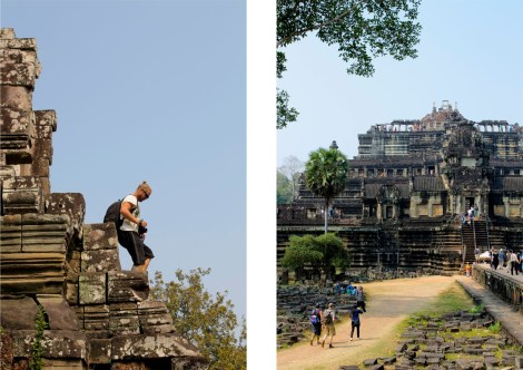 Det är branta trappor på tempel. Mattias struttar nedför en. Till höger är templet som kallats världens största pussel. Det har plockats isär, sten för sten, men arkeologernas envetna arbete förstördes av Röda khmerernas framfart.