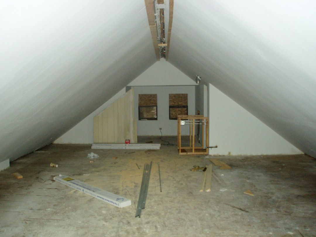 Attic of afforded renovated green house, Chicago, pre-renovation
