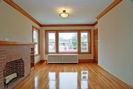 Living room, post-renovation, affordable green home chicago