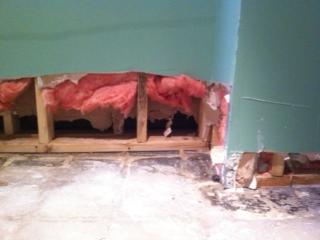 drywall cutaway after flood waters are dried