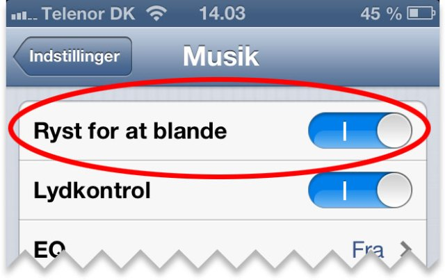 Ryst for at blande funktionen på iPhone
