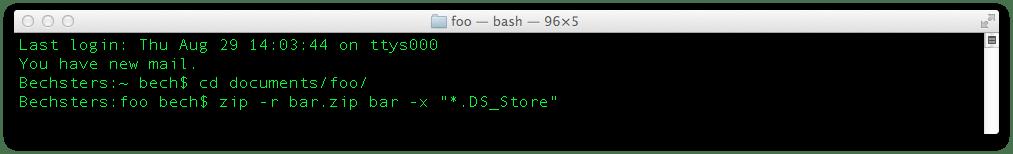 Zip med UNIX kommandoer i Terminal på Mac OSX