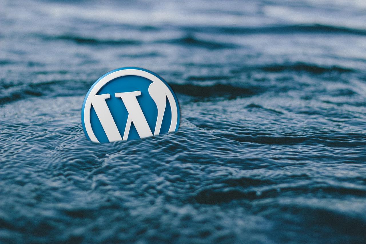 WordPress logo der flyder på vand