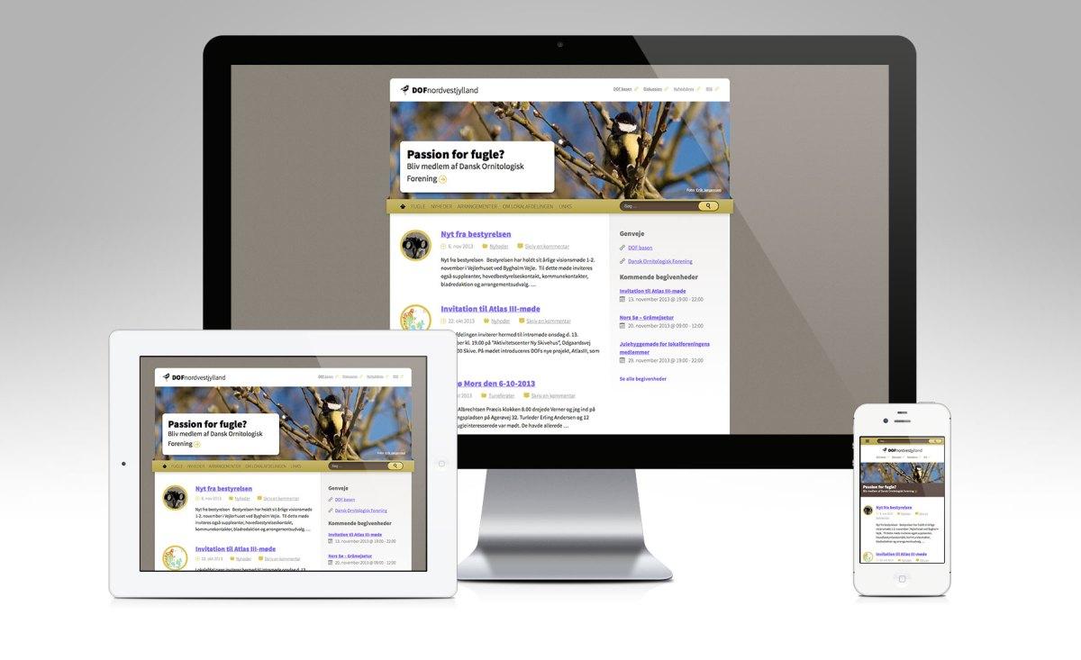 Screenshots af desktop og mobil site