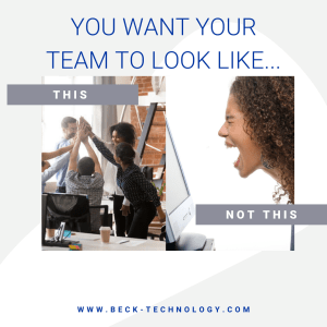 """office meme showing a happy team giving high five and unhappy team with """"You want your team to look like this...and not this"""" text"""