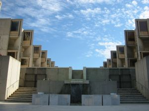 view of one of the courtyard entrances at the Salk Institute