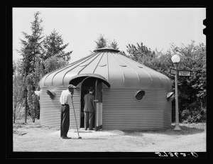 old black and white photo of the Dymaxion Deployment Unit