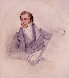 John Sell Cotman - Self-Portrait Holding the Book 'Normandie'.
