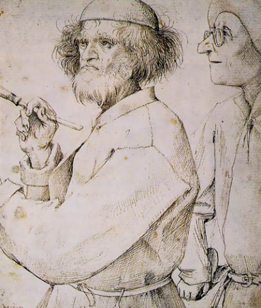 An undated drawing by Pieter Bruegel the Elder believed to contain a self-portrait (figure on left).