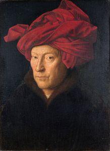 Probable self-portrait of Jan van Eyck - Portrait of a Man in a Red Turban.