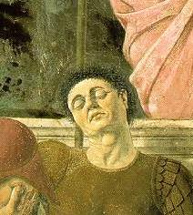Self-Portrait of Piero della Francesca in The Resurrection (1463).